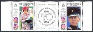 South Georgia Sc# 150a MNH Pair 1991 Elizabeth & Philip Birthdays