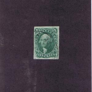 SCOTT# 13 USED 10c WASHINGTON TOWN POSTMARK, 1855, 4 MARGINS, PF CERT, HIGH CV