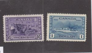 CANADA (MK3379) # 261-262 VF-MH $1,50cts  MUNITIONS & RCN DESTROYER CAT VAL $150