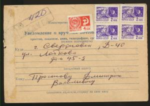 Notification of delivery of mail to the USSR Sverdlovsk 1973