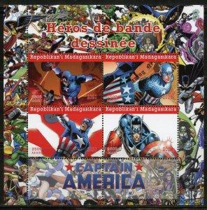 MADAGASCAR 2021 COMIC BOOK HEROES CAPTAIN AMERICA SHEET MINT NH