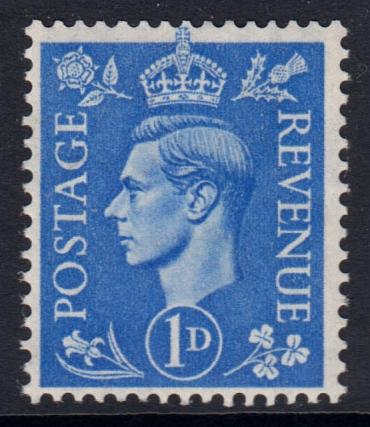 GB KGVI 1950 1d Light Ultramarine SG504 Mint Hinged