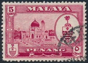 Malaya Penang 1960 5c Carmine-Lake SG58 Used 2