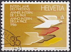 Switzerland # 799 used ~ 35¢ Int'l Peace Year, Dove