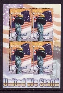 Cook Islands-Sc#1265-unused NH sheet of 4-United We Stand-Flags-2003-
