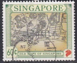 Singapore #748 F-VF Used Old Map of Singapore