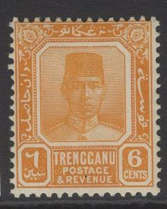 MALAYA TRENGGANU SG33 1924 6c ORANGE MTD MINT