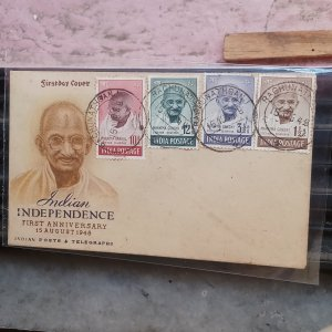 Gandhi 1948 fdc cancelled with 4 value