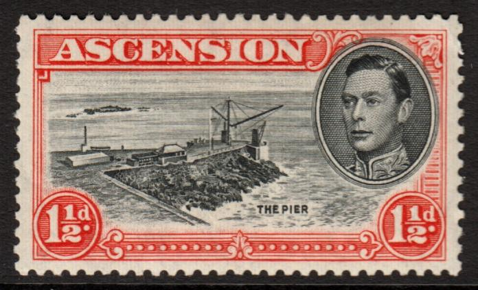 Ascension KGVI 1938 1.5d Black Vermilion SG40b Mint Hinged