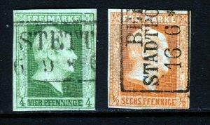 PRUSSIA 1850 4pf. Deep Green & 6pf. Vermilion Watermark Wreath SG 2 & SG 4 VFU