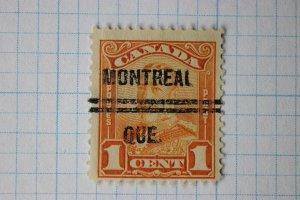 Canada sc#149 precancel Montreal QUE Quebec double line