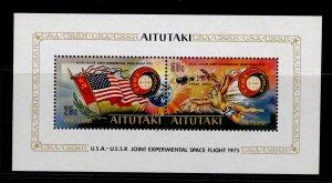 COOK ISLANDS - Aitutaki QEII SG MS150, 1975 Apollo-Soyuz mini sheet, NH MINT.