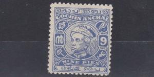 COCHIN 1948 - 50        S G  113  9P  ULTRAMARINE    NO GUM