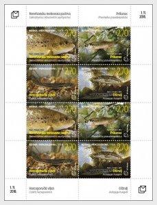 Stamps Bosnia and Herzegovina Mostar 2018 - Fauna - Fish - Sheet.
