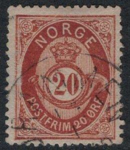 Norway #27  CV $20.00  light cancellation