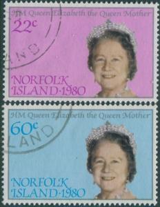 Norfolk Island 1980 SG252-253 Queen Mother set FU