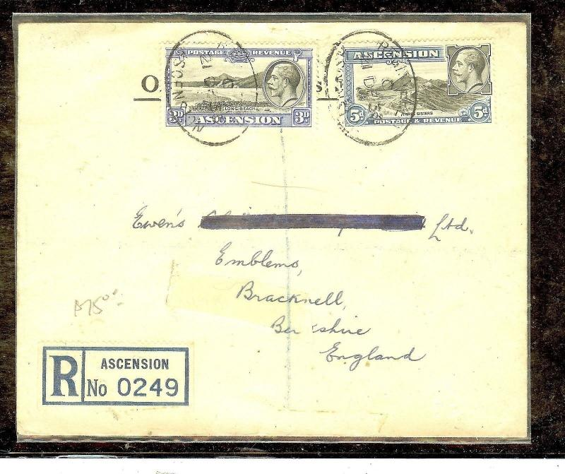 ASCENSION (P2804B) JAN 1937 KGV3D+5D REG TO ENGLAND, NAME EXCISED