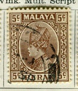 MALAYA PERAK; 1935 early Sultan issue fine used 5c. value