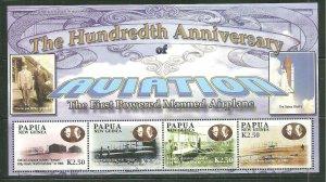 Papua New Guinea MNH S/S 1088 Powered Flight Aviation 2003 SCV 9.00