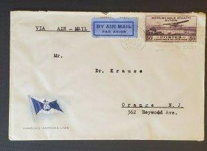 1931 Haiti to Orange New Jersey USA Hamburg American Line Air Mail Stamp Cover