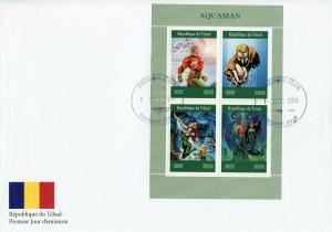 Chad 2019 FDC Aquaman 4v M/S Cover DC Comics Superheroes Stamps