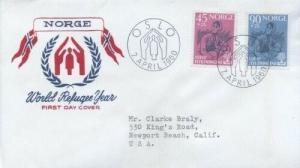 NORWAY 442/443 WORLD REFUGEE YEAR FDC 1960