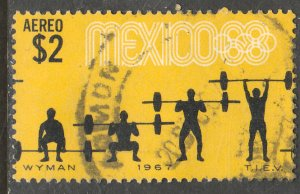 MEXICO C330, $2P Weightlifting 3rd Pre-Olympic Set 1967. USED. F-VF. (689)