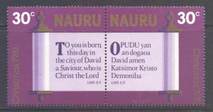 Nauru Scott 220a- SG230/231, 1980 Christmas 30c Pair MNH**