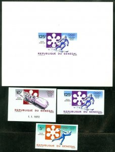 EDW1949SELL : SENEGAL 1972 Sc #C107-09 Olympics Scarce set Imperfs & Deluxe shts