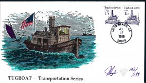 Beautiful Pugh Painted Tugboat Coil FDC -only 183 created...