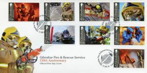 Gibraltar 2015 FDC Fire & Rescue Service 150th Anniversary 8v Set Cover Fireman
