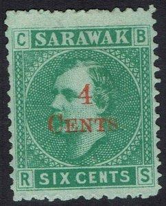 SARAWAK 1899 RAJA BROOKE 4 CENTS ON 6C NO GUM