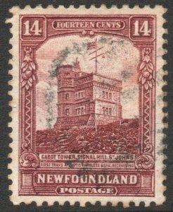 NEWFOUNDLAND-1928 14c Brown-Purple Sg 174 GOOD USED V46290