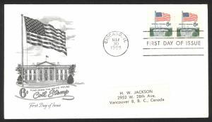 USA Sc# 1338A   (Artmaster) FDC pair (a) (Chicago  IL) 1969 5.30 6c Flag - Coil