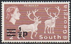 South Georgia 1971 ½p on ½d Reindeer MH