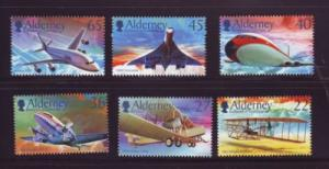 Alderney Sc 203-8 2003 manned flight 100 yrs stamp set NH