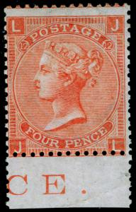 SG94, 4d vermilion PLATE 12, VLH MINT. Cat £575. MARGINAL INSCRIPTION. JL