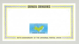 Grenada Grenadines #24, 27 1v. imperf proof border & affixed map label proof