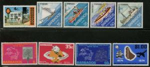 BARBADOS Sc#391-5, 395a, 412-5, 415a 1974 3 Complete Sets & 2 S/S OG Mint LH
