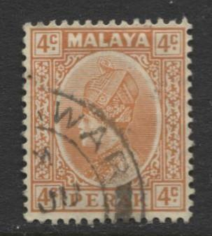 Malaya-Perak -Scott 71 - Sultan Iskandar - 1935- VFU - Single 4c Stamp