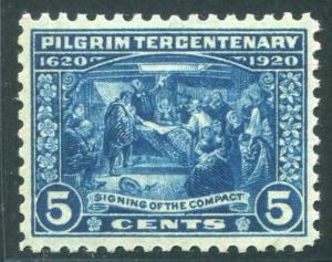HERRICKSTAMP UNITED STATES Sc.# 550 High Quality 5¢ 1920 Pilgrim Superb NH