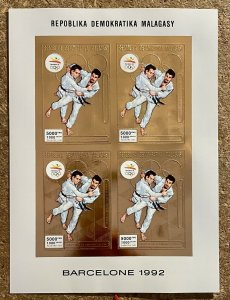 Stamps Gold Mini Sheet Olympic Games Barcelona 92 Madagascar Imperf.