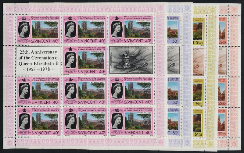 St Vincent 528-31 sheets MNH Queen Elizabeth 25th Anniv Coronation, Westminster