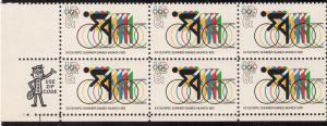 US#1460 - Olympic Games - w/Cylinder Flaw-Broken Ring - Blk of 6 - N.H.