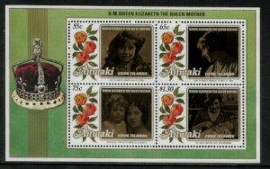 Aitutaki #376a MNH S/Sheet - Queen Mother's 85th Birthday