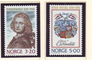 Norway Sc 978-9 1990 Peter Wessel stamps mint NH