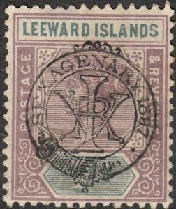 Leeward Islands 1897 QV 7d Sexagenary Jubilee Overprint MH