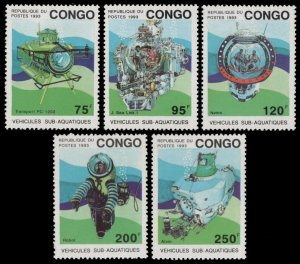 1993 Congo Brazzaville 1371-1375 Research submarines 15,00 €