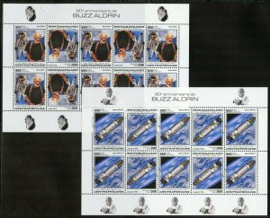 CENTRAL AFRICA 2019 90th BIRTH  OF BUZZ ALDRIN APOLLO 11  TETE-BECHE SHEETS  NH