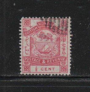 NORTH BORNEO #25  1886  1/2c  COAT OF ARMS       USED F-VF